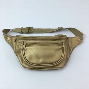 Handbags - Gold Leather Waist Fanny Pack Pouch